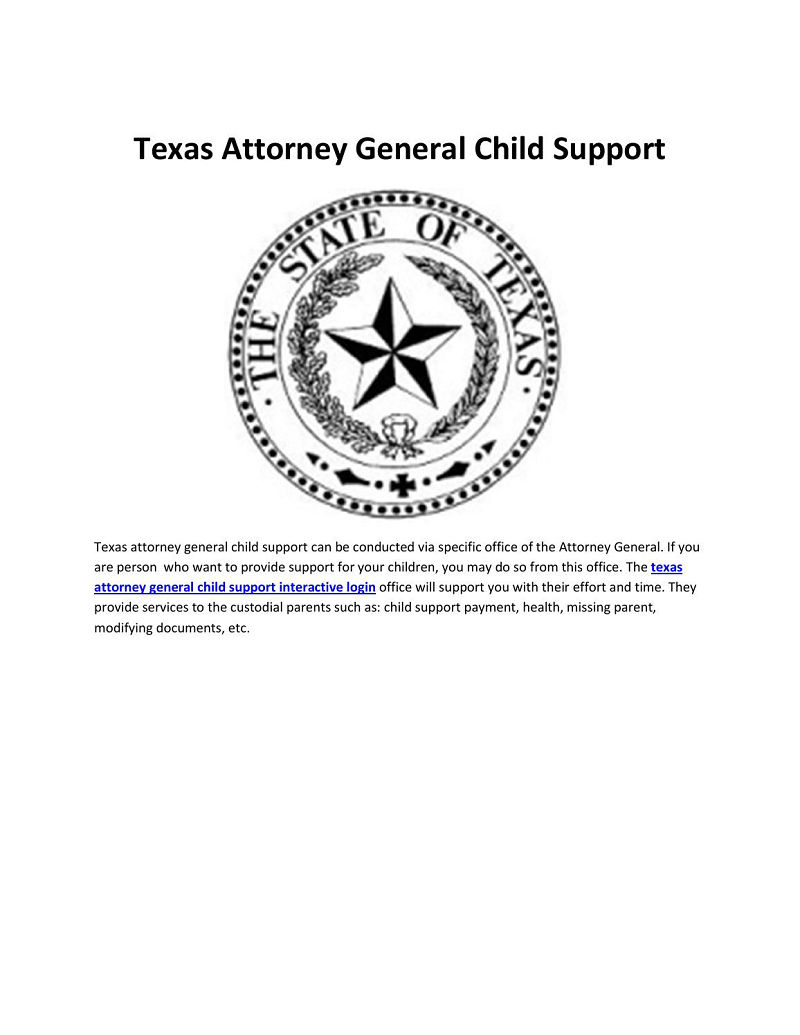 Texas Child Support Attorney General Interactive