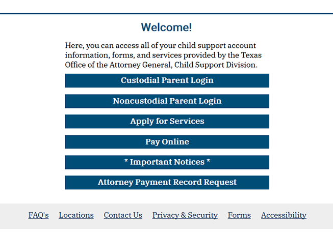 Texas Child Support Interactive Custodial Parent Login