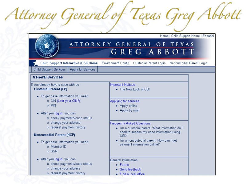 Attorney General Texas Child Support Interactive